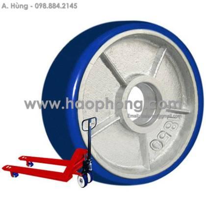 Bánh xe nâng Phong Thạnh 180 PU xanh cốt gang